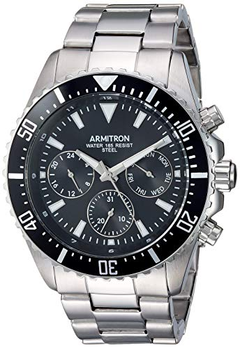 Armitron Men's 20/5351BKSV Multi-Function Silver-Tone Bracelet Watch
