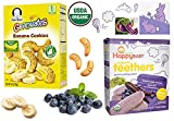 Healthy snacks organic baby formula teething Gerber baby food Banana Cookies 5 oz & Happy Baby Wafers Blueberry & Purple Carrot - 1.7 oz. (12 Individually-Wrapped 2-packs!)
