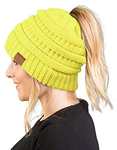 Yellow Knit Beanie - BT-6020a-55 Messy Bun Womens Winter Knit Hat Beanie Tail - Neon Yellow
