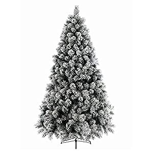 AMERIQUE 691322305593 7 FEET Premium Artificial Full Body Shape Christmas Tree with Metal Stand, Heavily Flocked Snow, Unlit, Snowy 1