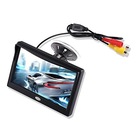5'' Inch TFT LCD Car Color Rear View Monitor Screen for Parking Rear View Backup Camera With 2 Optional Bracket(Suckers Mount and Normal Adhesive Stand) - Fixed Camera Bracket Clear Window