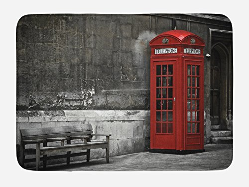 Ambesonne London Bath Mat, Famous British Phone Boot in London Streets Important Icon of Town Urban Life Photo, Plush Bathroom Decor Mat with Non Slip Backing, 29.5 W X 17.5 L Inches, Red Grey
