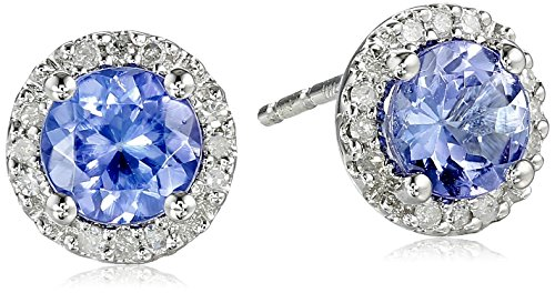 10k White Gold Tanzanite and Diamond (1/10cttw) Stud Earrings - White Gold Diamond Tanzanite Earrings