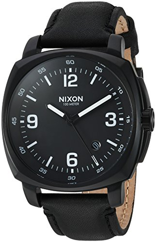 Nixon Men's 'Charger' Quartz Metal and Leather Watch, Color:Black (Model: A1077001-00) ()