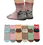 AnVei-Nao Womens Girls Stripe Cute Cat Cotton Soft Pattern Crew Socks 6 Pairs 3D
