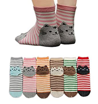 AnVei-Nao Womens Girls Stripe Cute Cat Cotton Soft Pattern Crew Socks 6 Pairs 3D