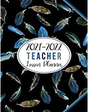 2021-2022 Teacher Lesson Planner: Gorgeous Feathers Pattern Black Cover: Large Weekly and Monthly Teacher Planner and Calendar | Lesson Plan Grade and Record Books for Teachers 2021-2022 Academic Year (July 2021-June 2022)