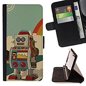 DEVIL CASE - FOR Sony Xperia Z3 D6603 - Robot Ai Drawing Cartoon Animation Colorful - Style PU Leather Case Wallet Flip Stand Flap Closure Cover