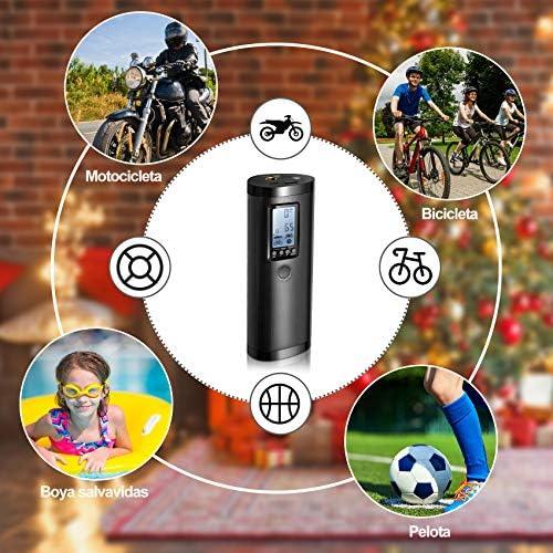 Vastar Tragbarer Luftkompressor Reifenpumpe Mit Digitalem Display Mobile Leistung Led Licht 5 Modi Für Ball Fahrrad Auto Schwimmring Lithium Akku 100 Psi 2000 Mah 20 L Min Auto