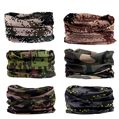 FAYBOX 6pcs Magic Wide Wicking Headbands For Men and Women Outdoor Headwear Bandana Sports Scarf Tube UV Face Mask for Workout Yoga Running ()