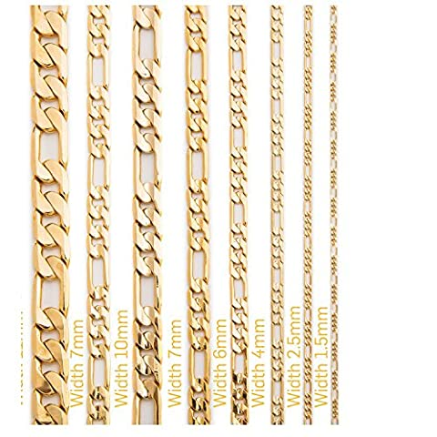 Life Time Warranty 2.5mm 4mm 6mm 7mm 10mm 12mm Gold figaro Chain made in USA,30x thicker gold 20 24,30inch (20, gold (Men Gold Over Silver Chain)