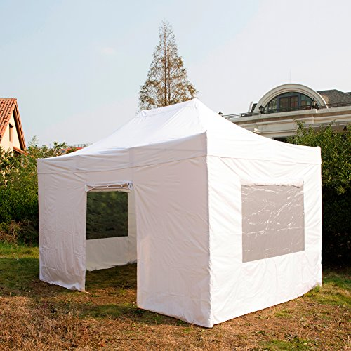 SNAIL 10 X 15 ft Pop Up Heavy Duty Aluminum Instant Shelter Commercial Canopy Portable Tent with 4 Sidewalls Enclosure & Wheeled Bag, White