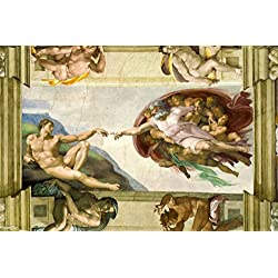 Michelangelo The Creation Adam Fresco Sistine Chapel Ceiling Poster 18x12