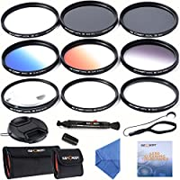 K&F Concept 77mm Lens Filter Kit Slim UV Slim CPL Circular Polarizing Macro Close up +4 +10 Slim Graduated Color Orange Blue Grey Point Star 6 Filters