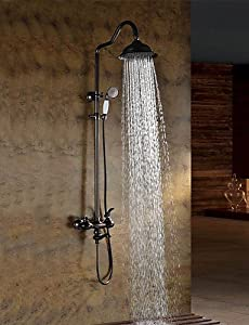 durable modeling SAEKJJ-Oil-rubbed Bronze Wall Mounted Waterfall Rain + Handheld Shower Faucet Bathroom faucet