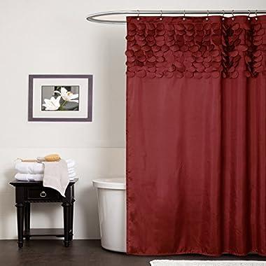 Lush Decor Lillian Shower Curtain, 72 x 72-Inch, Red