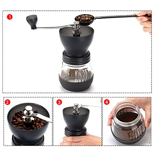 Manual Coffee Grinder with Conical Ceramic Burr - Because Hand Ground Coffee Beans Taste Best, Infinitely Adjustable Grind, Glass Jar, Stainless Steel Built To Last, Quiet and Portable by WELLMON (Image #5)