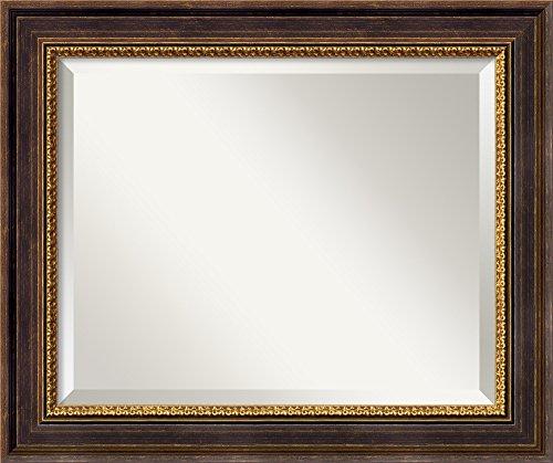 (Amanti Art Framed Veneto Distressed Black Solid Wood Wall Mirrors, Glass Size 16x20,)