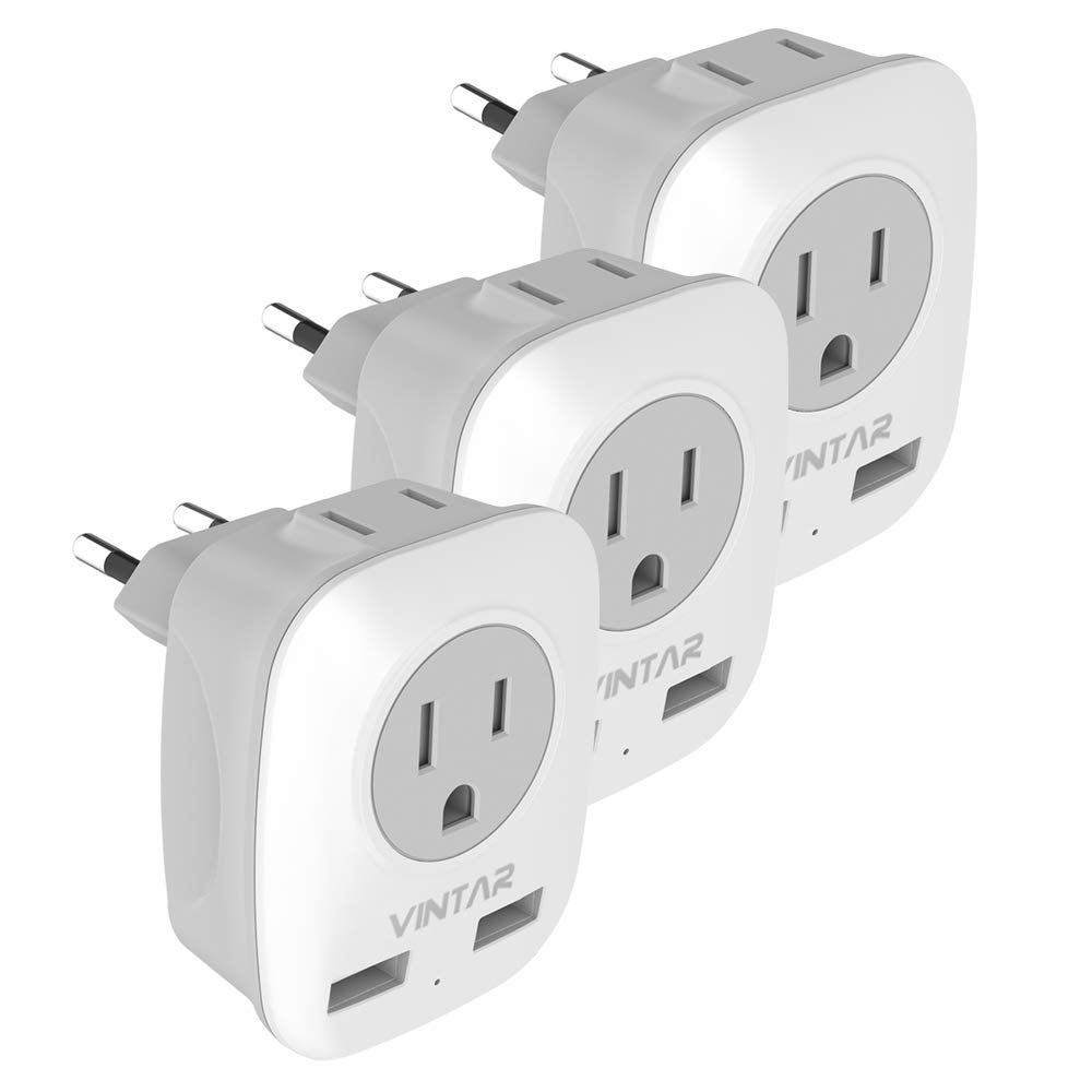 [3-Pack] European Plug Adapter, VINTAR International Power Adapter with 2 USB Ports,2 American Outlets- 4 in 1 European Plug Adapter for France, German, Greece, Italy, Israel, Spain (Type C)