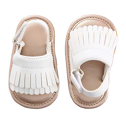 Baby Sandal Tassels Summer Lace-up Toddler Gladiator Shoes 0 6 12 18 Months (13cm Sole(12-18 Months), White Tassels)]()