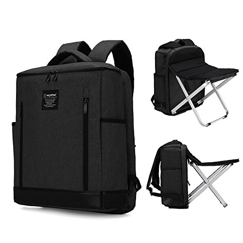 Dulcii Backpack Stool Combo Multi-Functional Large Capacity Shoulders Bag Portable Folding Seat Beach Chair for Camping Fishing Hiking Picnics Watching Sports Events (Chair Can be Removed, Black) ()