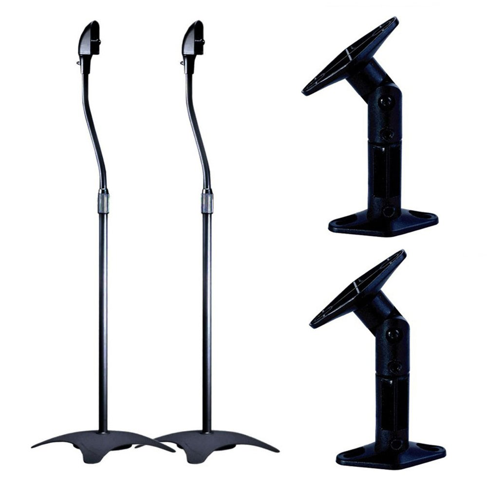 Home Theater Speaker Mount Bundle- Wall Mount (pair) & Floor Stand (Pair) by Monoprice