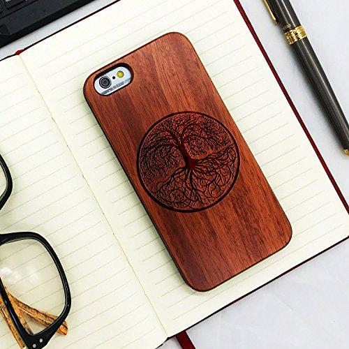 Funda Madera Tallada Protectora Cubierta para iPhone 6/6S Natural Wood Caja de PC Vintage Bumper Protector Carcasa para Apple iPhone6/6S Rose-Yggdrasill