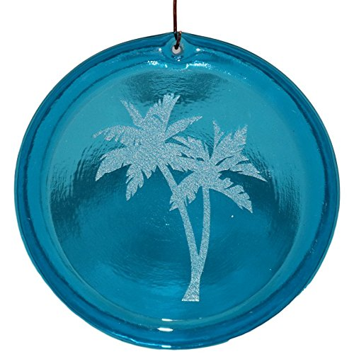 - 4-Inch Etched Swaying Palm Trees Suncatcher In Aqua from our Beach Collection - Made In the USA. A Great Gift For Anyone. Colorful Suncatchers Bring a Room or View To Life.