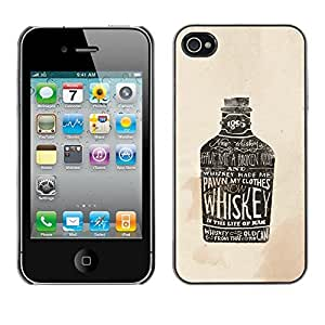 LASTONE PHONE CASE / Slim Protector Hard Shell Cover Case for Apple Iphone 4 / 4S / Whiskey Bottle Bar Drinking Party Alcohol Art