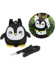 OFKPO Baby Toddler Walking Safety Backpack Baby Anti-Lost Mini Backpack with Leash Nylon Cute Cartoon Penguin for Baby 1-3 Years Old (Black)
