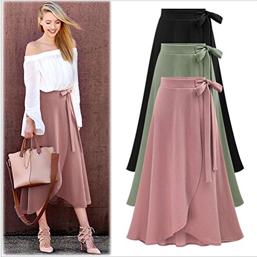Duanmei Femmes A-Ligne Robes de Soire Solide Couleur Taille Haute Maxi Jupe Taille Swing Pliss Avant Fente Ceinture Maxi Jupe Cheville-Longueur Jupe Vert