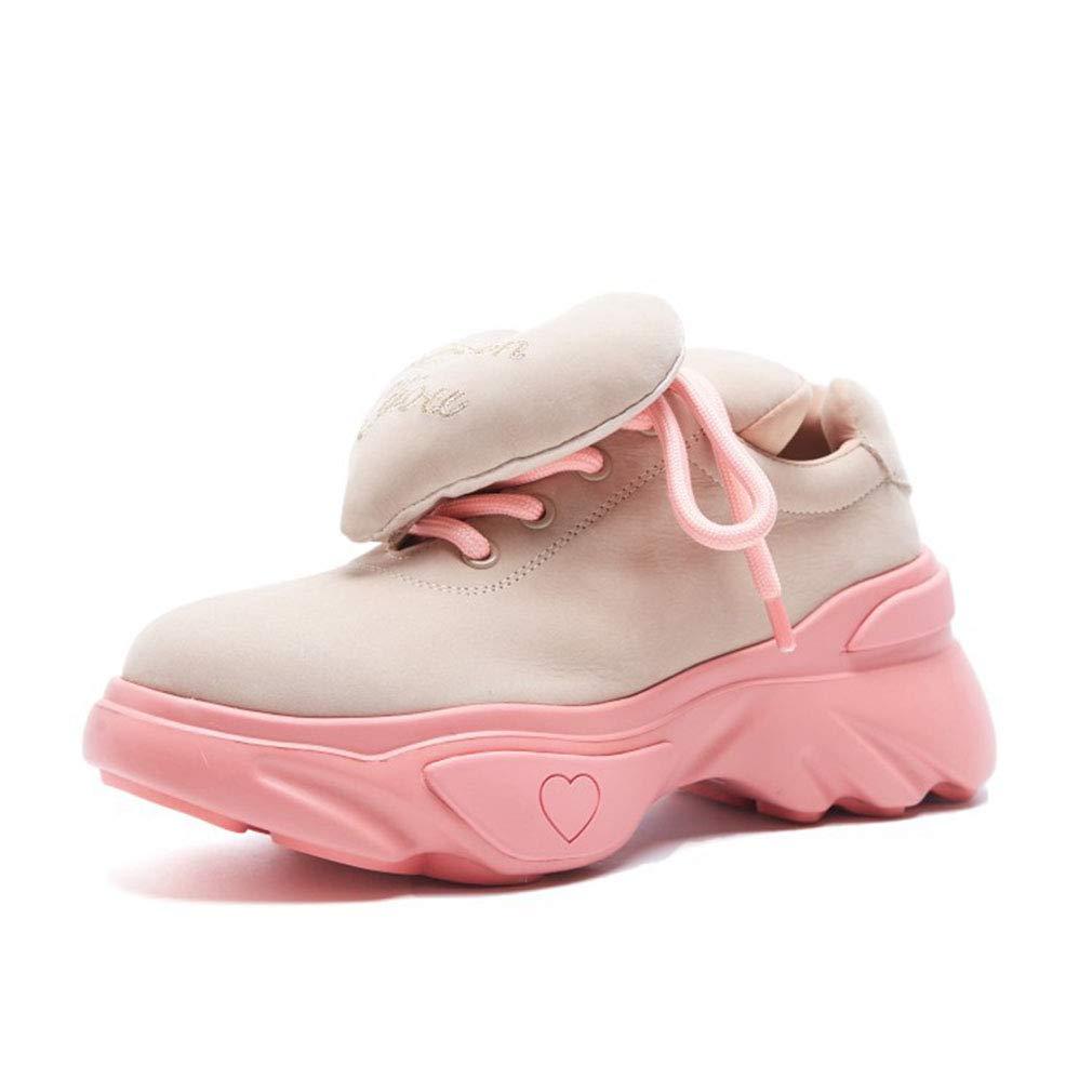 YAN Frauen Turnschuhe Neue 2019 Suede Fashion Platform Schuhe Low-Top Casual schuhe Fashion Peach Heart Sports Schuhe Khaki schwarz B 38