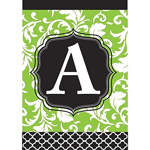 Raininc's Monogram A Filigree Green and Black Shield 18 x 13 Rectangular Double Applique Small Garden - Filigree Monogram
