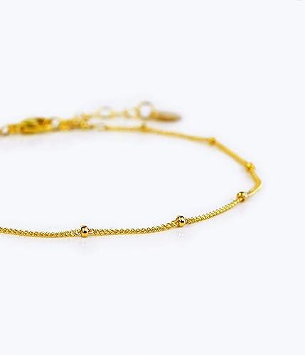 7d335f5f5eb Dew Drops bracelet, Dainty Gold Chain bracelet, beaded Chain bracelet, Gold  bracelet, Dainty bracelet, Thin bracelet, Delicate bracelet, satellite  bracelet