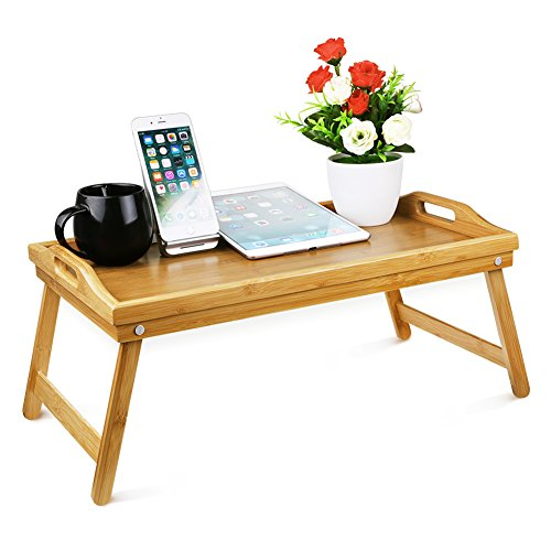 Bed Tray Table with Folding Legs by Anntory Serving Breakfast in Bed or Use As a TV Table, Laptop Computer Tray, Snack Tray with Moso Natural Bamboo