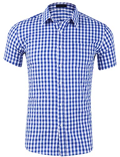 SPAREE Men's Cotton Sleeved Buffalo Plaid Checked Business Dress Shirt, Short Sleeve Royal Blue White,S