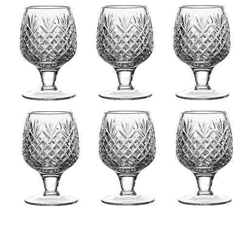SET of 6 Russian CUT Crystal Shot Glasses on Short Stem Old-fashioned Glassware, Set for Whiskey, Vodka and Liqueurs,1…