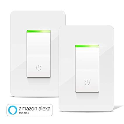 Smart Light Switch, Aicliv WiFi Smart Switch 2 Packs, Works with Alexa Echo  & Google Home IFTTT, Control Lighting from Anywhere, No Hub Required, 15A,