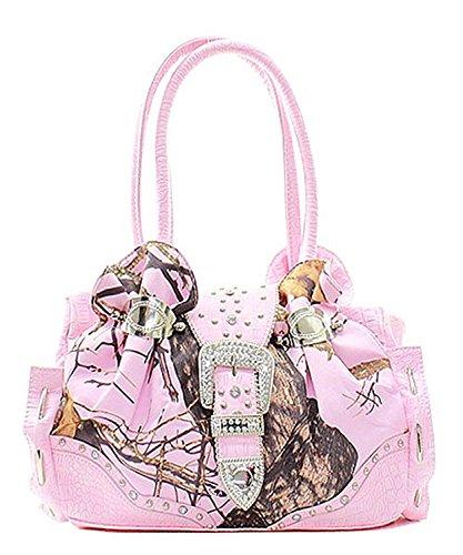 (Mossy Oak Pink Camouflage Rhinestone Studded Handbag)