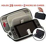 Nintendo Switch Accessories Case - (29 Game Cartridges and 2 Micro SD Card Holders) Protective Hard Portable Deluxe Travel Carry Case Shell Pouch by Acaris (Gray)