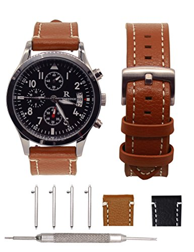 18mm Brown Leather Bands Strap - 18MM Leather Bands for Huawei Watch 1,Adeals Quick Release Top Grain Genuine Leather 18mm Smart Watch Band Strap Women Men Bands for Fossil Q Venture (Brown, 18mm)