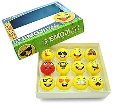 Oji-Emoji Premium Emoji Golf Balls, Unique Dual-Layer Professional Practice Golf Balls, 12-Pack Emoji Golfer Novelty Gag Gifts for All Golfers, Fun Golf Gift for Dads, Guys, Men, Women, Kids, Grandpa by DesignSavy