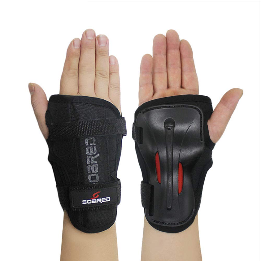 LALATECH Skiing Handguards Long Wrist Guards Roller Skating Hand Palm Skating Handguards Hard Hand Support Strong Protective Gear Skating Gloves (L)