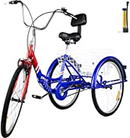 VEVOR Tricycle Adult 26'' Wheels Adult Tricycle 1-Speed 3 Wheel Bikes for Adults Three Wheel Bike for Adults A