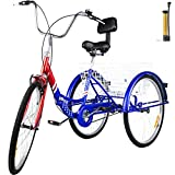 Bkisy Tricycle Adult 26'' 1-Speed 3 Wheel Bikes for Adults Three Wheel Bike for Adults Adult Trike Adult Folding Tricycle Foldable Adult Tricycle 3 Wheel Bike Trike for Adults