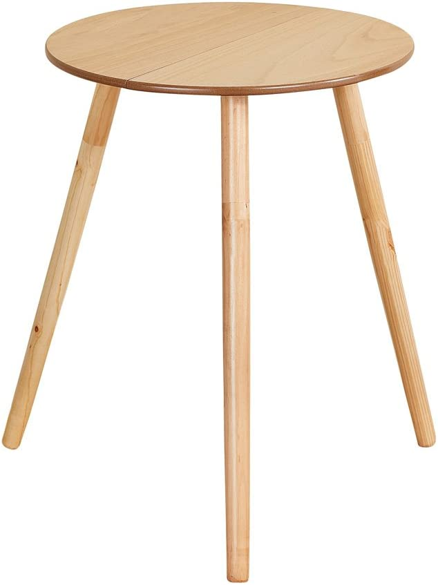"""Collections Etc Wooden Round Side Accent Table, 20"""" Diameter x 25.5"""" Height – Sturdy Classic Three-Legged Round Side Table for Use in Bedroom, Living Room or Entryway"""