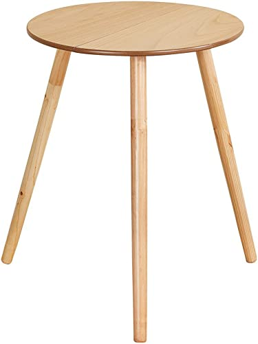 Collections Etc Wooden Round Side Accent Table