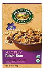Nature's Path Organic Cereal, Flax Plus, 14 Ounce Box, Raisin Bran, (Pack of 12)