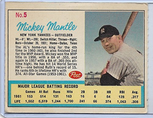 1962 Post Cereal Mickey Mantle Ad Back Card # 5 Vg-Ex Condition