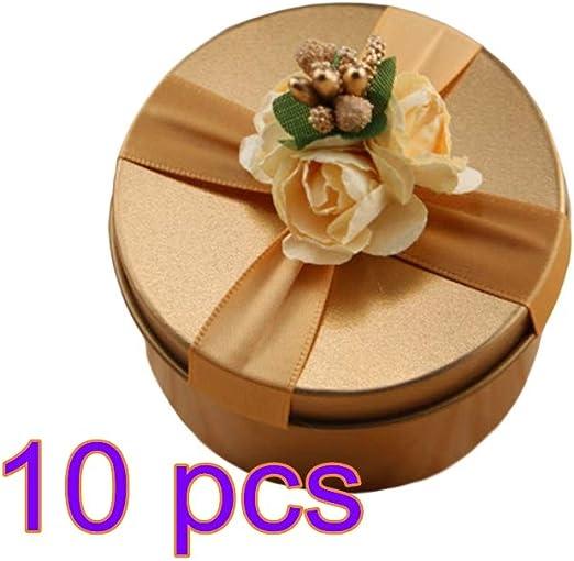 Winbang Caja de caramelos redonda, caja de almacenamiento de boda ...
